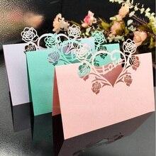 50 шт./лот лазерная резка, настольный визитные карточки, визитные карточки, имена гостей, открытки, свадебные украшения, свадебные сувениры, вечерние принадлежности