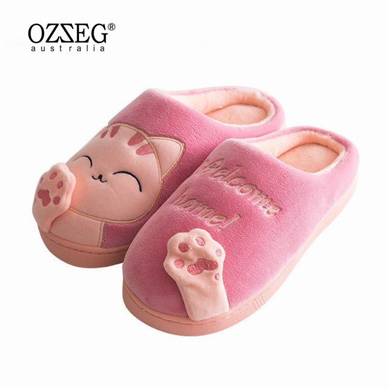 Women Winter Autumn Home Slippers Ladies Cartoon Cat Shoes Non-slip Soft Warm Slippers Indoor Bedroom Loves Couple Floor Shoes women floral home slippers cartoon flower home shoes non slip soft hemp slippers indoor bedroom loves couple floor shoes