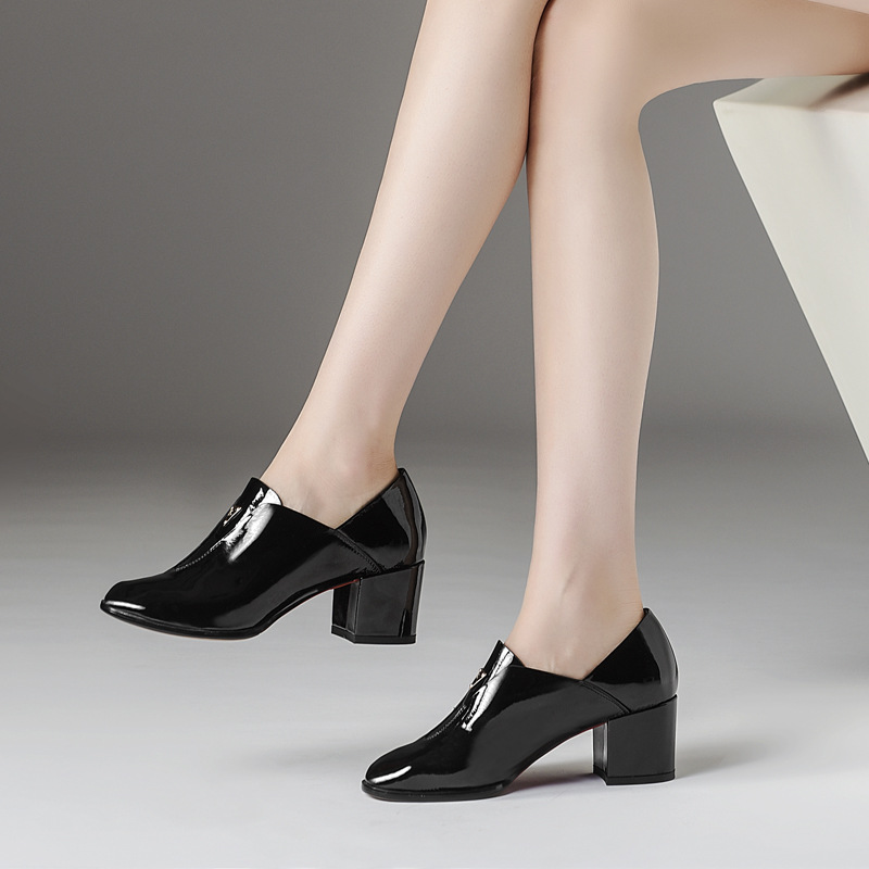 2019 High end brand name cow patent leather British style thick with women 39 s single shoes round head leather high heels women in Women 39 s Pumps from Shoes