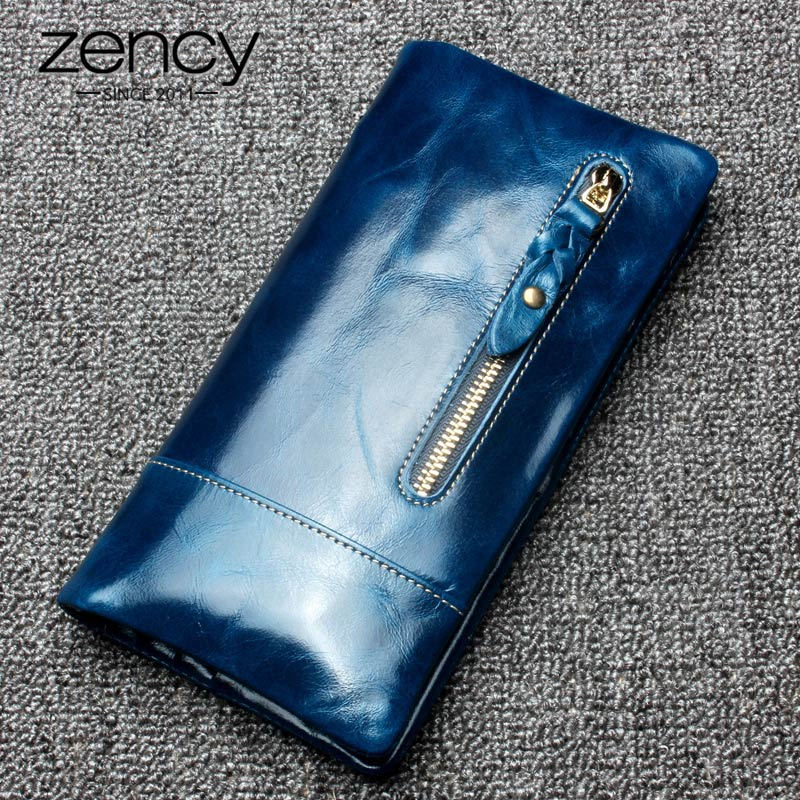 Zency Luxury Brown Women Long Purse 100% Genuine Leather Coin Pocket More Card Holders High Quality Standard Wallet Blue Purple