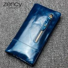 Zency Luxury Brown Women Long Purse 100% Genuine Leather Coin Pocket More Card Holders High Quality Standard Wallet Blue Purple