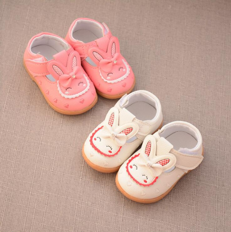 25% Spring Autumn Baby girls Casual First Walkers Toddler Rabbit pu shoes pink white 15-19 0-2years TX04
