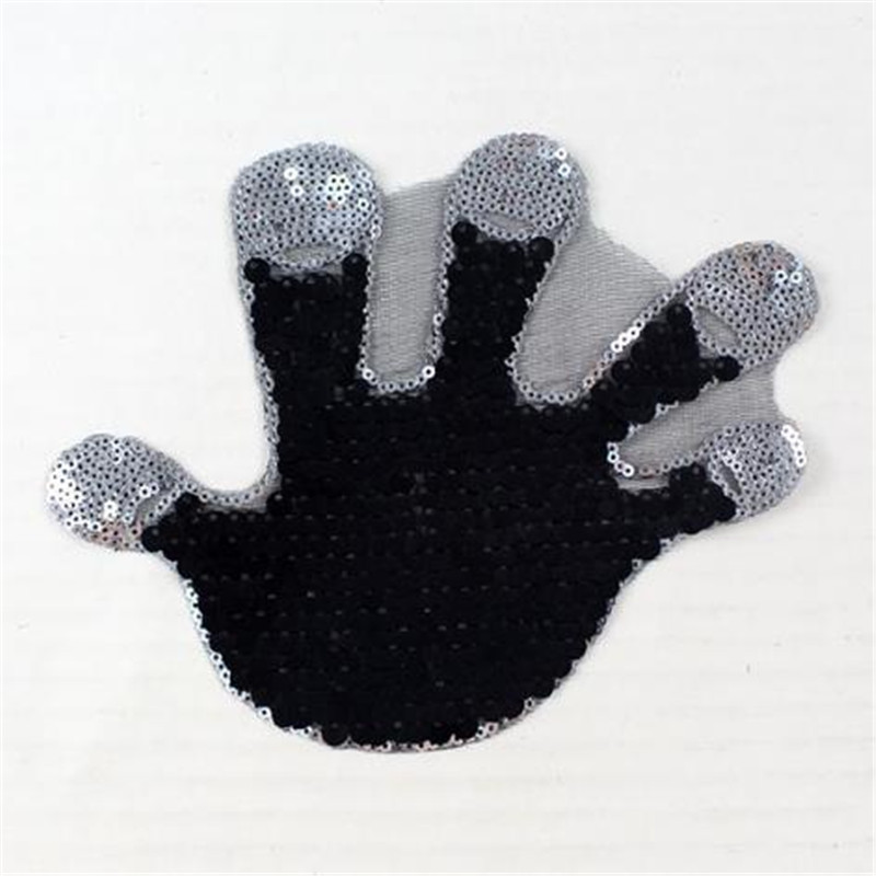 Shop3108035 Store T shirt Women patch sequins 18cm hand palm print deal with it iron on patches for clothing 3d t shirt mens free shipping