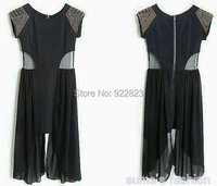 Free Shipping New 2013 Restore Ancient Ways Splicing Insight Sequins Chiffon And Elegant Dress 2 Colors