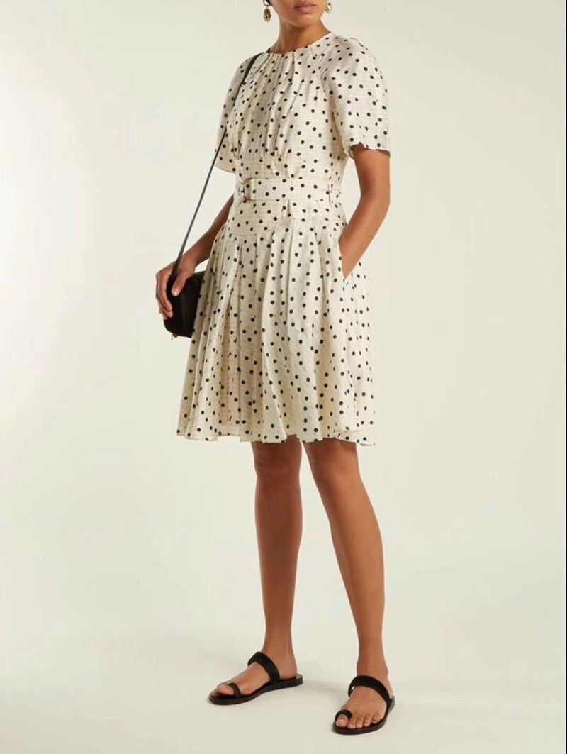 Femmes D'été Avec White Imprimé Manches Ceinture 100 O Dot Polka Robe Blanc Courtes À Vintage Cou Soie 6x6q4Hvwz
