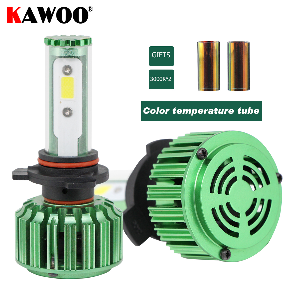KAWOO Auto Headlamp Front Light 9012(HIR2) Car LED Headlights 6000K Lights Lighting Bulb Fog Light Car Accessories Styling