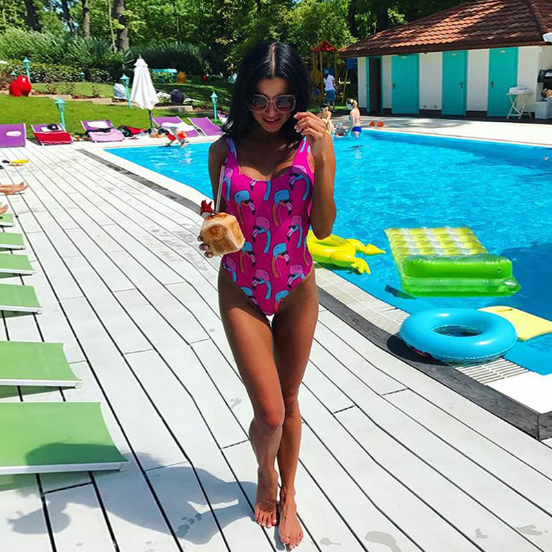 Swimsuit Bikini Brazilian V Neck Women One Piece Backless Push Up Swimwear Women High Waist Sexy Print Beach Suits Swimwear 8050 v neck high waist print dress