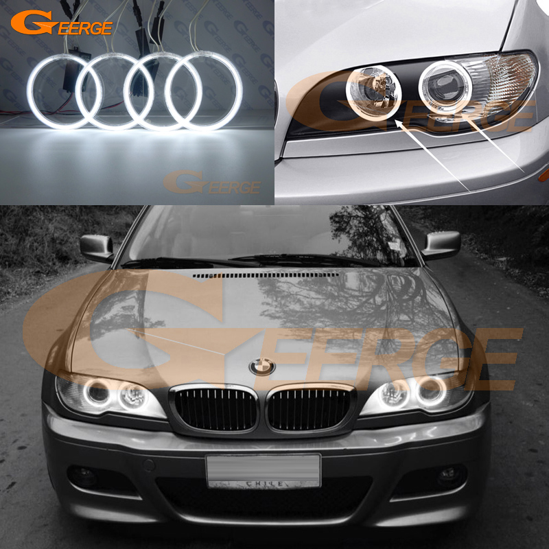 For BMW E46 325ci 330ci 2004 2005 2006 projector headlight Excellent CCFL angel eyes kit Ultra bright illumination Halo Rings super bright led angel eyes for bmw x5 2000 to 2006 color shift headlight halo angel demon eyes rings kit