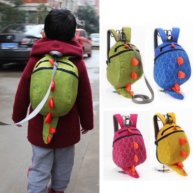 2016 New Baby Lunch Box Bag Kindergarten Schoolbag Backpack Cartoon Dinosaur Baby Toddler Anti lost Leash Harness Strap Walker