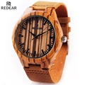 2016 New Wooden Quartz Watch Men's Retro Cowhide Leather Luxury Watch REDEAR Japan Movement Wood Wristwatches Relogios Masculino