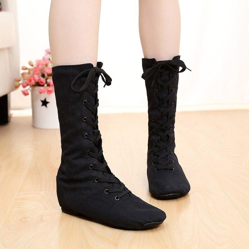 3 couleurs enfants toile bottes de danse haut à lacets chaussures de Jazz filles talon carré formation Fitness Yoga GYM chaussures baskets
