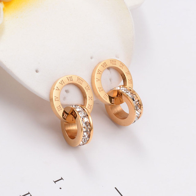 Top Brand Hight Quality Titanium Steel Double Wound Roman Numerals Crystal Stud Earrings For Women Gift Jewelry 3