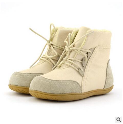 Cuoio genuino scarpe da bambino ragazze dei ragazzi antiscivolo neve martin  stivali maschio femmina medio gamba cotone imbottito sport della scarpa da  ... 2280e8237db