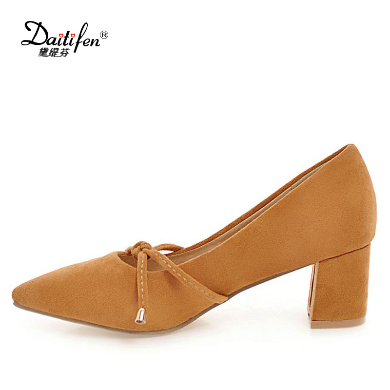Daitifen Mature Flock Pointed High Heel Shoes Simple Butterfly-knot Med Heel Stilettos Brand Women Shoes Sexy Party Wear Pumps 2017 new summer women flock party pumps high heeled shoes thin heel fashion pointed toe high quality mature low uppers yc268