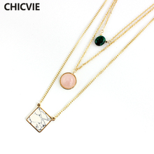 CHICVIE Gold Color Multilayer Necklaces Boho Charms Necklace Pendants For Women Jewelry Vintage Accessories Necklace SNE160046