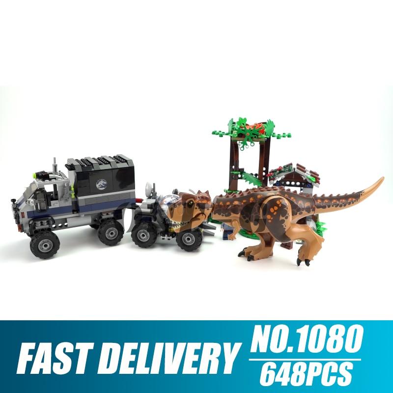 Building blocks SY1080 Compatible with 75929 jurassic world dinosaur Bricks Carnotaurus Gyrosphere Escape toys for children