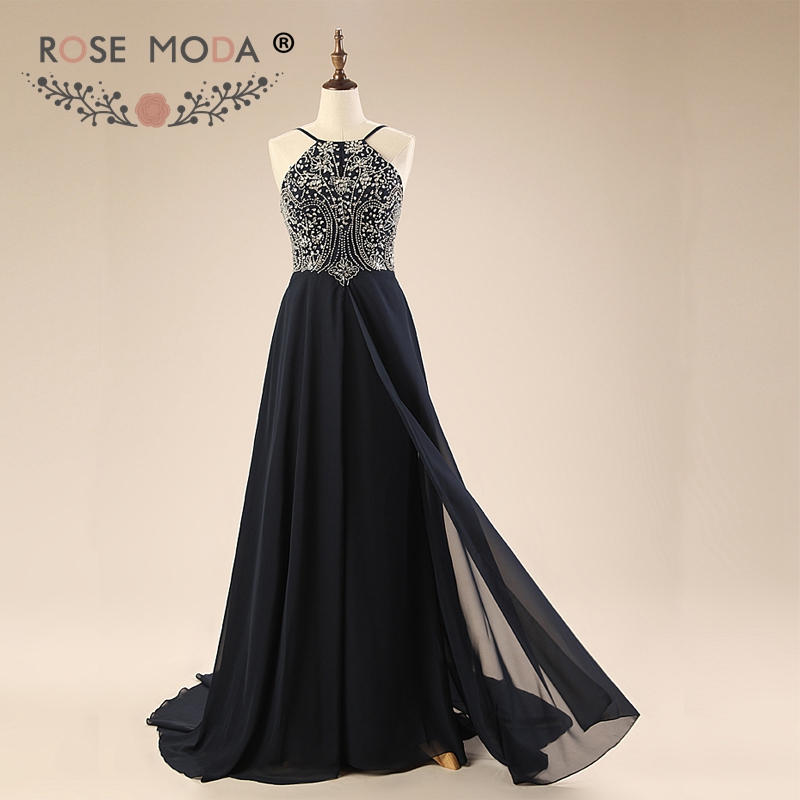Rose Moda Formal Black   Evening     Dresses   Floor Length Backless Crystal Formal Party   Dress   2019