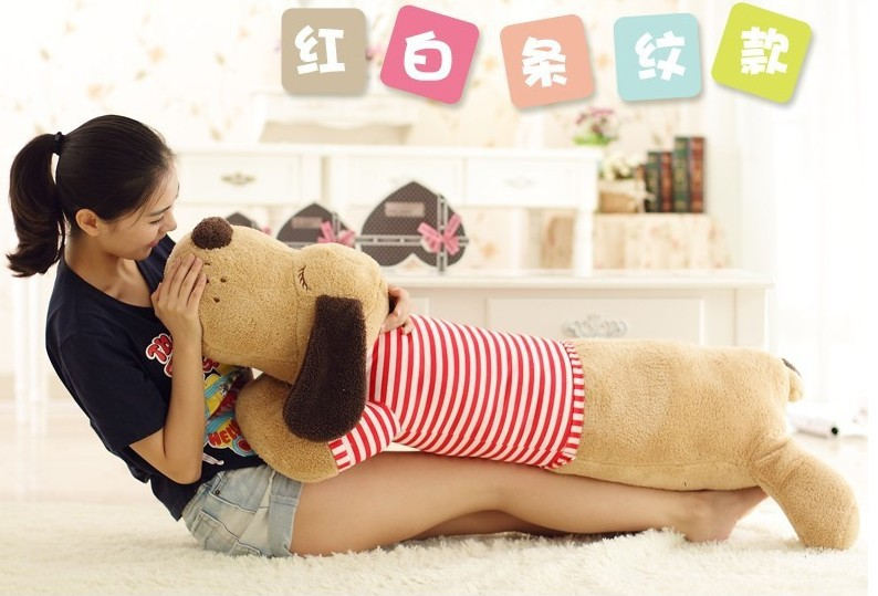 big plush lovely dog toy brown lying dog doll with red stripe cloth gift about 125cm 0264 75cm super cute plush toy dog lipstick dog pillow doll lying prone as gifts to friends and children with down cotton