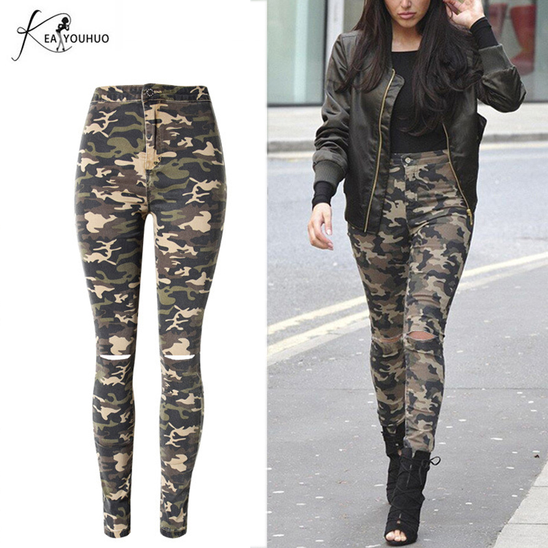 2018 Բարձր իրան Skinny Denim Boyfriend Jeans For Women Ripped Pencil Jeans Իգական տաբատ Camouflage Jeans Joggers Women Pant