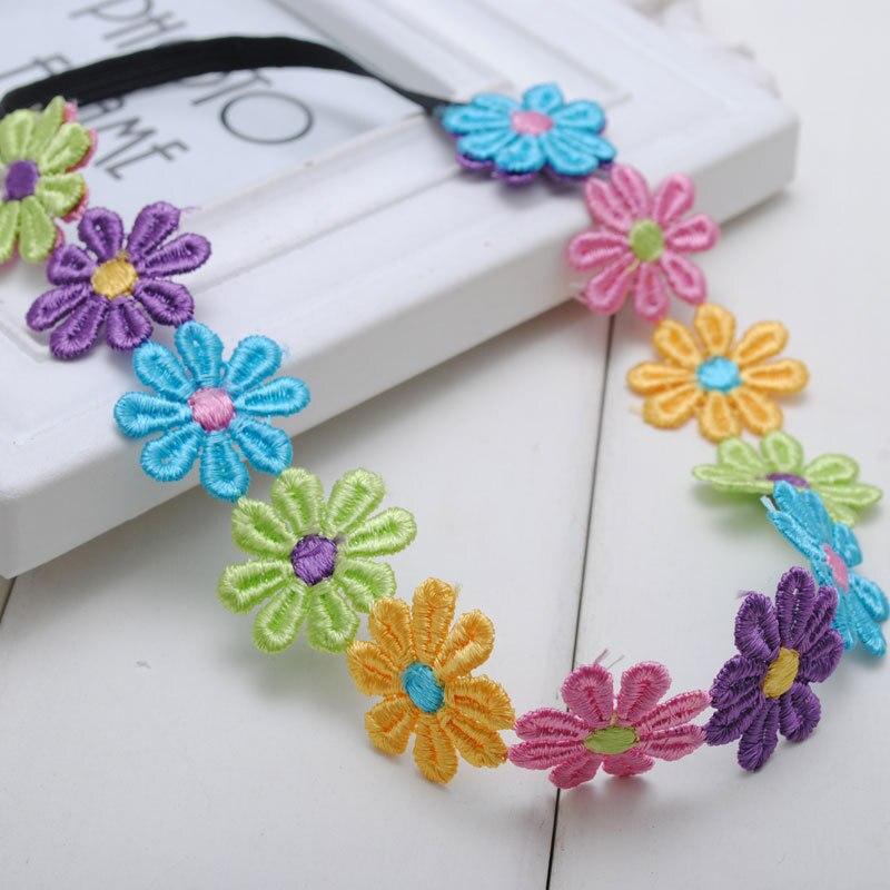 1 Unid Estilo Boho Flores De Múltiples Colores Margarita Corona Baby Girls  Diademas Hippie Festival de Música Desgaste Niños Accesorios Para el Cabello