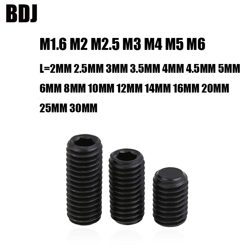 100pcs M4 M4 x 3mm Black Alloy Steel Grade12.9 High Tensile Cup Point Grub Hex Socket Set Screws DIN916 4mm