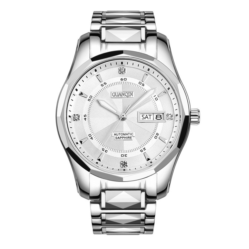 Volledige Tungsten Staal Horloges Topmerk GUANQIN luxe Automatische Horloge Mannen Week Kalender Lichtgevende Waterdicht Mechanisch Horloge Mannen-in Mechanische Horloges van Horloges op  Groep 2