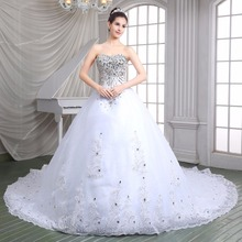 Elegant Long Train White Ball Gown Bridal Dresses Sweetheart Silvery Beaded Shiny Rhinestones Wedding Dresses