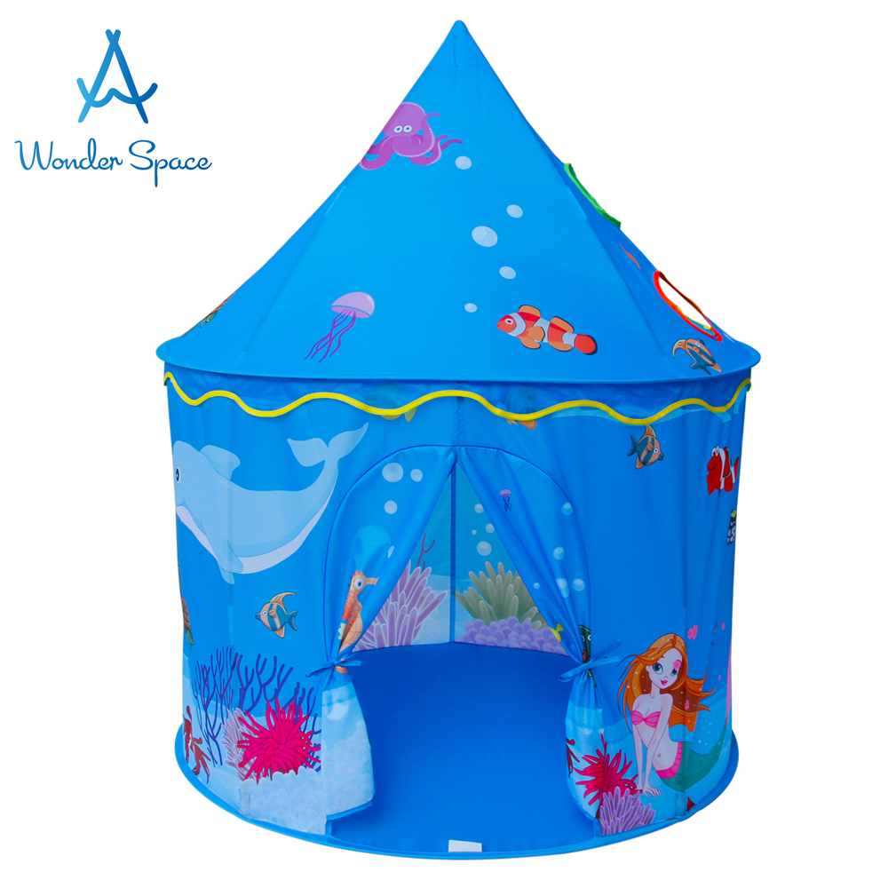 Children Play Tent - Sea Ocean Beach Castle Kids Foldable Pop Up Playhouse Best Indoor Outdoor Boys Girls Toddler House Toy Blue
