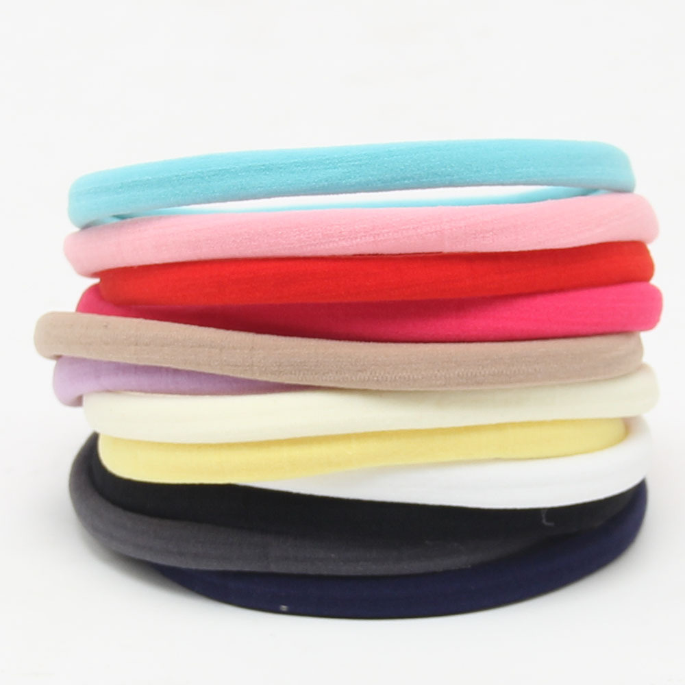 10pcs/set Baby Girl Boy Spandex Nylon Headband For Children Skinny Very Stretchy Non-Marking Headwear Nylon Elastic Head Band