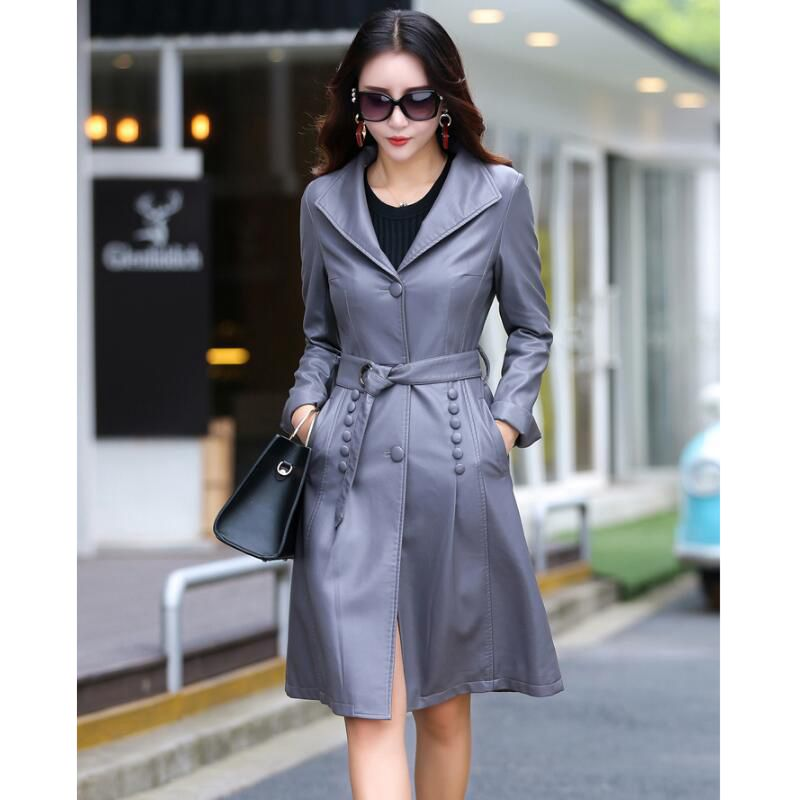 2018 Autumn New Fashion Suit Collar   Leather   Jacket Women Long Slim   Leather   Trench Coat Single-breasted Locomotive Lady Wind Coat