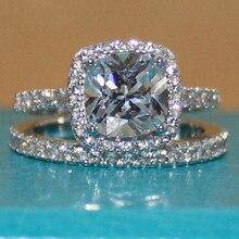 Éternité de Femmes Argent Coussin-cut Diamant Simulé Pierre CZ Pave Set Nuptiale Anneau De mariage