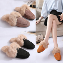Rex rabbit fur slippers female 2018 autumn new winter Fur womens shoes flat fashion warm outside wearing lazy drag