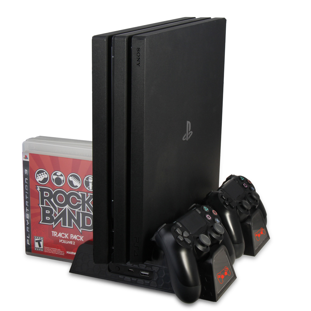 Support de refroidissement Vertical multifonctionnel de ventilateur de refroidisseur de PS4 Slim Pro, Dock de chargement, chargeur de contrôleur de PS4 avec indicateurs LED
