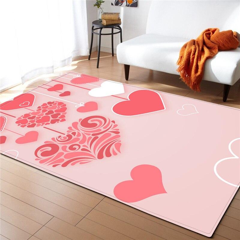 Nodic rose amour impression tapis intérieur moderne mode zone tapis chambre Floormat grande couverture anti-dérapant salon décor à la maison