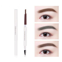 10 Pcs Automático Long-lasting Makeup 5 Cores Lápis de Sobrancelha Dupla Cabeça Rotativa Lápis de Sobrancelha Natural Por Frete Grátis