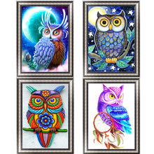 FineTime Owl 5D DIY Diamond Painting Partial Round Drill Diamond Embroidery Animal Cross Stitch Mosaic Painting finetime 5d diamond painting partial drill animal round diamond mosaic embroidery kit christmas decorations gift