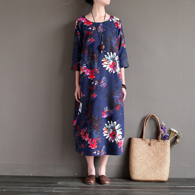 New Fashion Soft Cotton Linen Long Women Summer Dress Casual Printed Floral Dresses Plus Size O Neck blue red green Loose dress