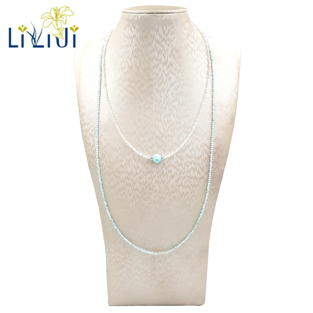 Lii Ji Larimar Moonstone Necklace Natural Tiny Stone 925 Sterling Silver Sparkling Necklace Set Delicate Jewelry for FemaleLii Ji Larimar Moonstone Necklace Natural Tiny Stone 925 Sterling Silver Sparkling Necklace Set Delicate Jewelry for Female