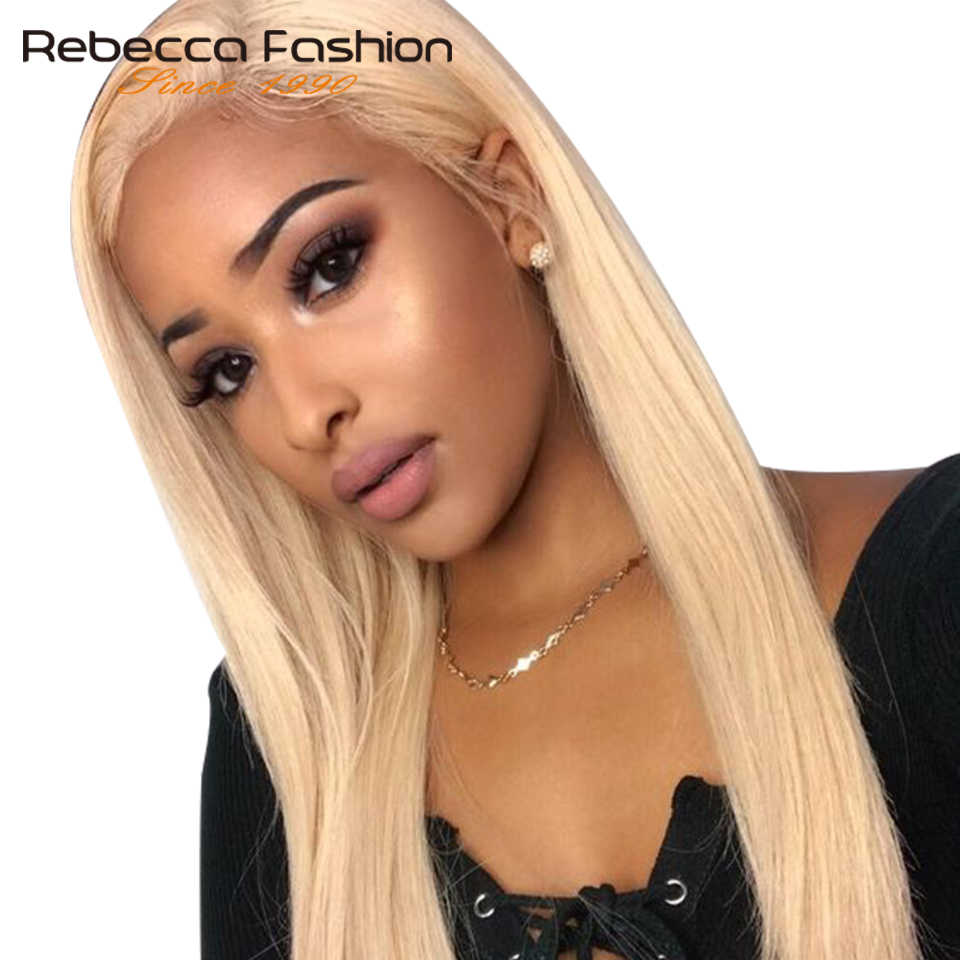Rebecca 613 Blonde Lace Front Wig With Baby Hair Remy Brazilian Straight Human Hair 613 Frontal Wigs 14-18 Inches 150% Density