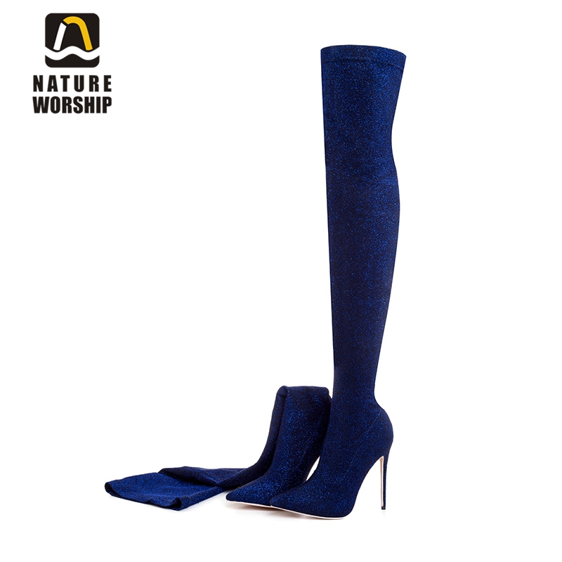 Big size 34-43 women shoes slipon shoes for women stretch fabric boots over the knee thigh high boots sexy high heels long boots allbitefo fashion sexy high heels stretch fabric over the knee boots brand pointed toe high heel shoes women boots size 33 43