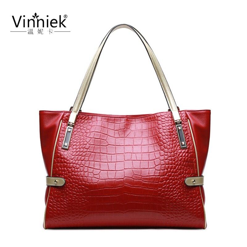100% Genuine leather new 2019 female bag fashion ladies shoulder Messenger bag crocodile pattern solid color handbag Mummy bags
