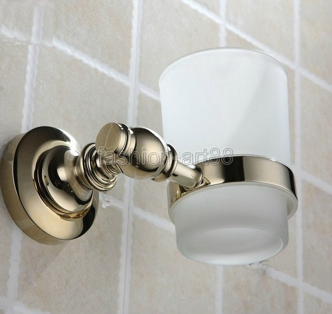 ФОТО Golden Polished Gold Color Brass Bathroom Bath Tumbler Holder with Single Glass cup Wall Mount aba139