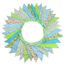 36 Flags 10m Green Flowers Designs Cotton Fabric Bunting Pennant Flags Banner Garland Wedding Party Outdoor DIY Home Decoration page flags green 50 flags dispenser 2 dispensers pack page 4