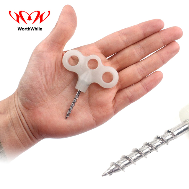 WorthWhile 6 Pcs/lot Screw Luminous Nail Outdoor Camping Fishing Snowland Iceland Windrope Pegs Tent Accessories