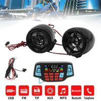 Audio motocyklowe MP3 odtwarzacz muzyczny z wyświetlacz Moto zestaw głośnomówiący Bluetooth głośniki stereo FM Radio wodoodporny USB/TF karty gry w Sprzęt audio do motocykla od Samochody i motocykle na
