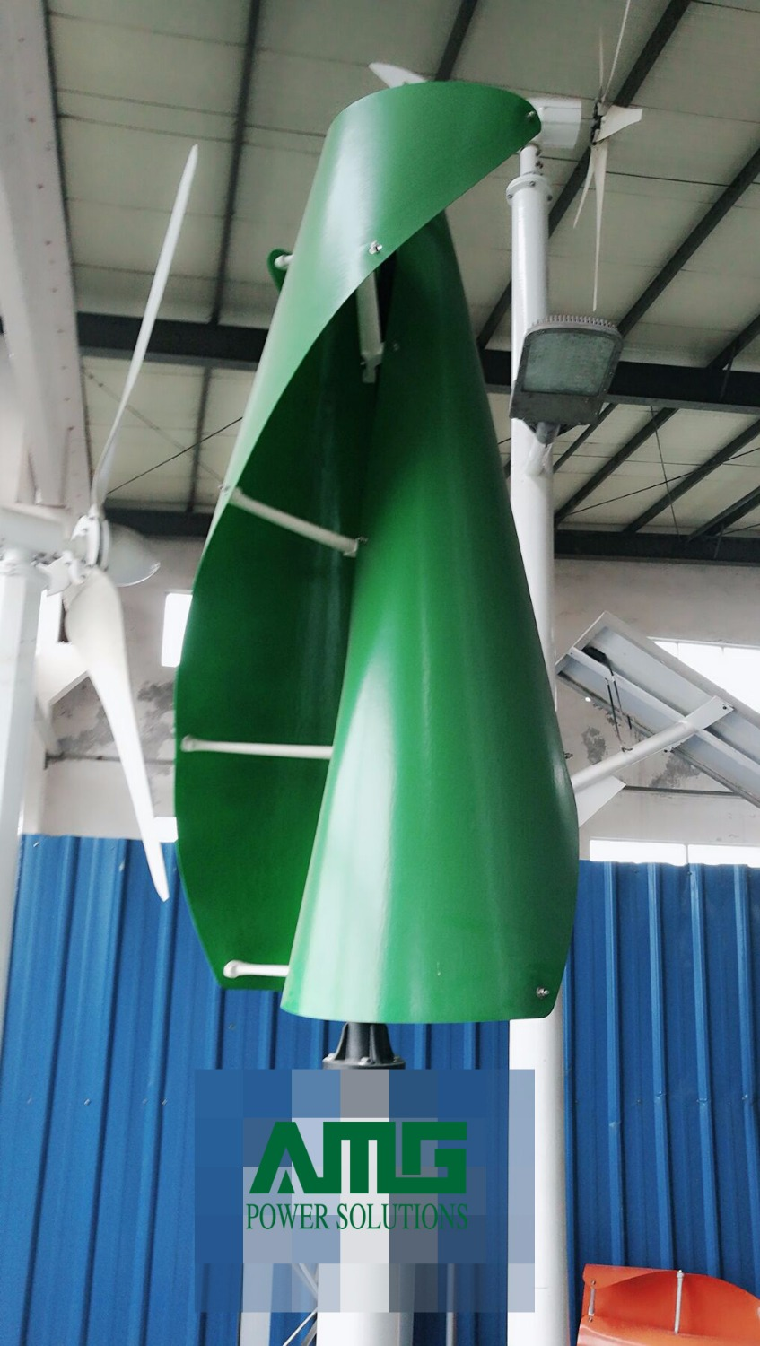 400W500W600W 12V/24V Green Color Wind Turbine Generator VAWT Vertical Axis Residential use energy with Charger Controller