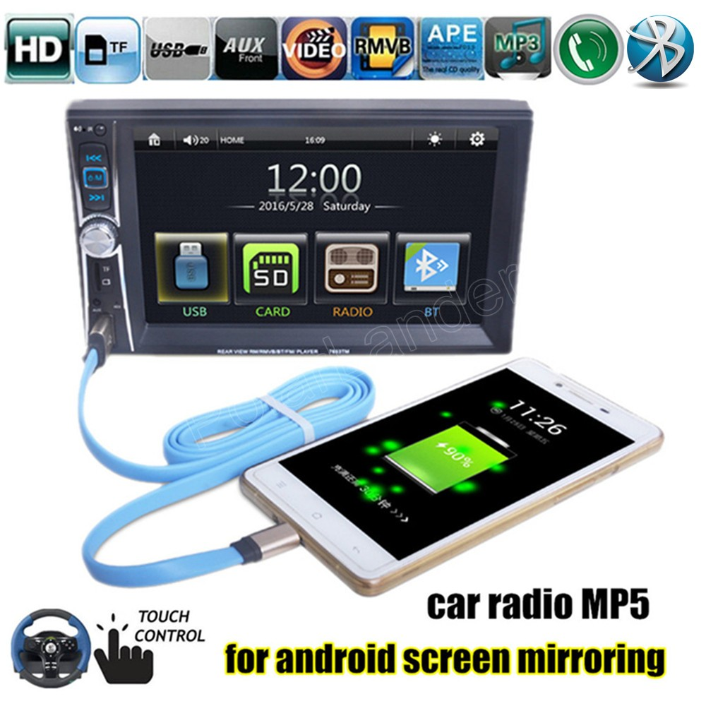 6.6 ''HD 2 Din Rádio Do Carro MP5 MP4 Player Mobile Phone Bluetooth internet 7653TM Touch Screen Radio Stereo Jogador