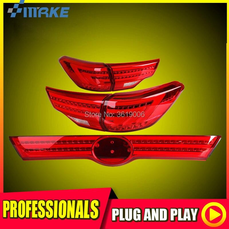 smRKE For Toyota Highlander 15 17 LED Tail Light Rear Lamp LED DRL+Brake+Park+Signal Stop Car Styling