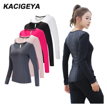 Yoga Long Shirts Tight Long Sleeves Jersey Gym T- Shirts Top High Elastic Training Running Exercise T-Shirt Breathable Fitness two tone cream long sleeves high low t shirt