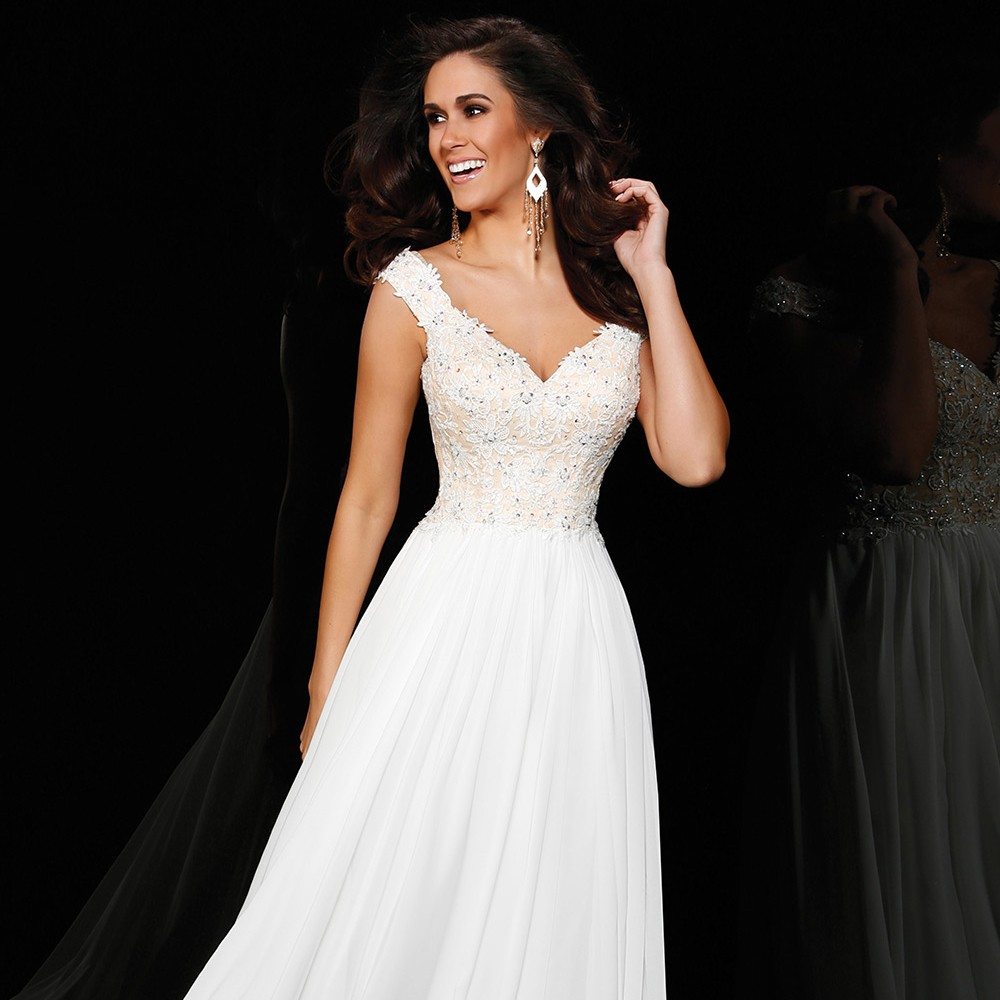 PF290-Simple-A-Line-Cap-Sleeve-V-Neck-White-Sequin-Long-Evening-Dresses-2015-Special-Occasion (2)
